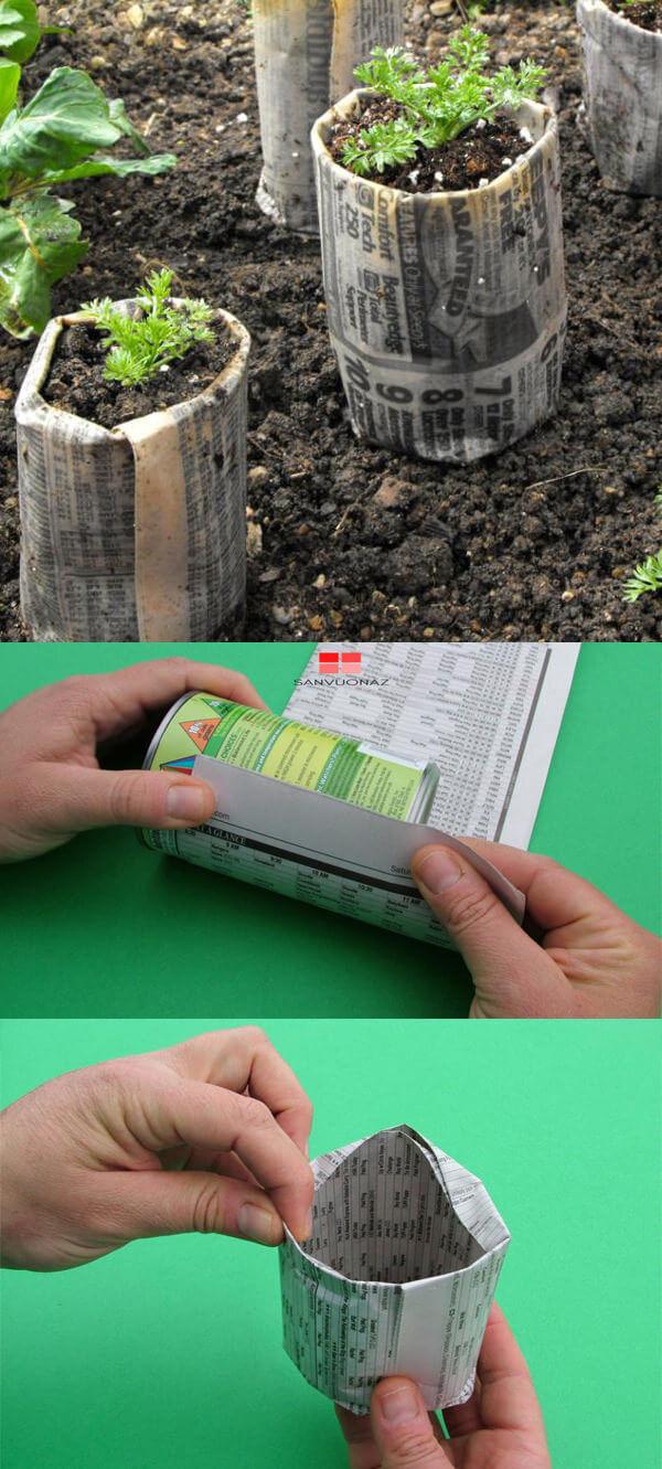 Cuộn giấy báo làm khay ươm hạt
